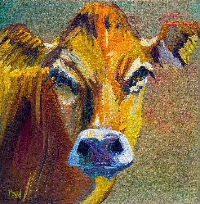 """ARTOUTWEST DIANE WHITEHEAD Cow Animal art oil painting original"" original fine art by Diane Whitehead"