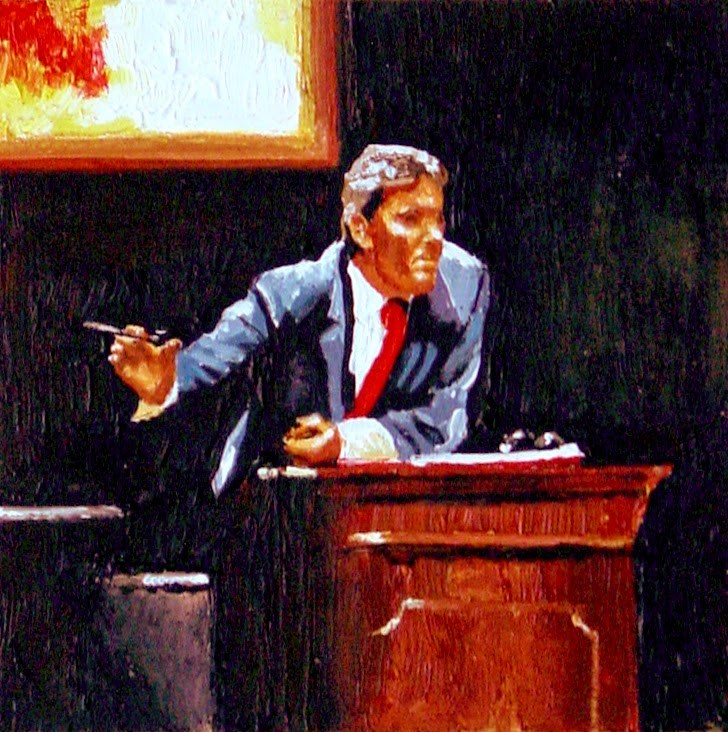 """Auctioneer- Painting Of Evening Auction Christie's"" original fine art by Gerard Boersma"
