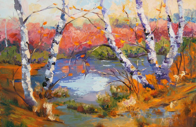 """Autumn Stillness"" original fine art by Marion Hedger"