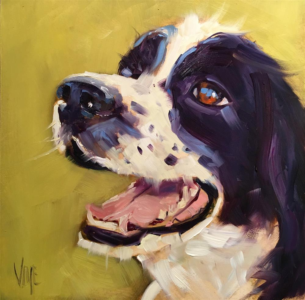 """#430 Christmas Spaniel"" original fine art by Patty Voje"