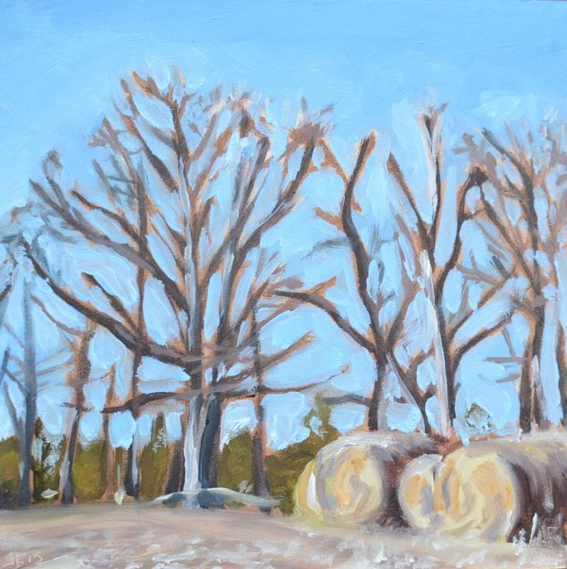 """Hay and Bare Limbs"" original fine art by Jonathan Baker"