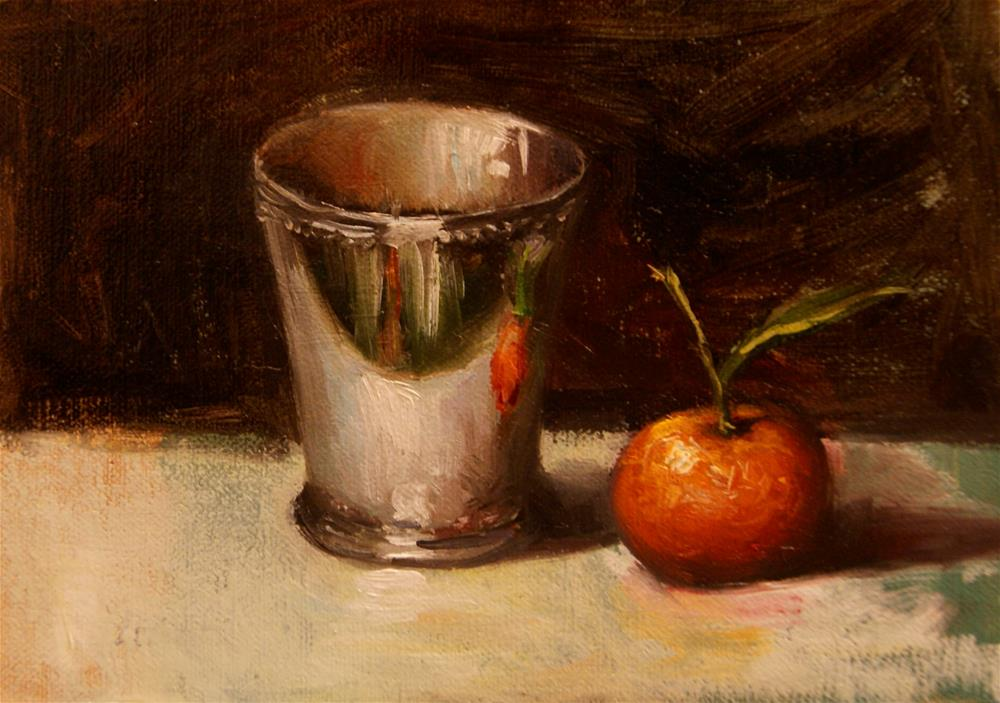 """Mint Julep Cup with Mandarin,  Oil on 5x7 Linen Panel"" original fine art by Carolina Elizabeth"