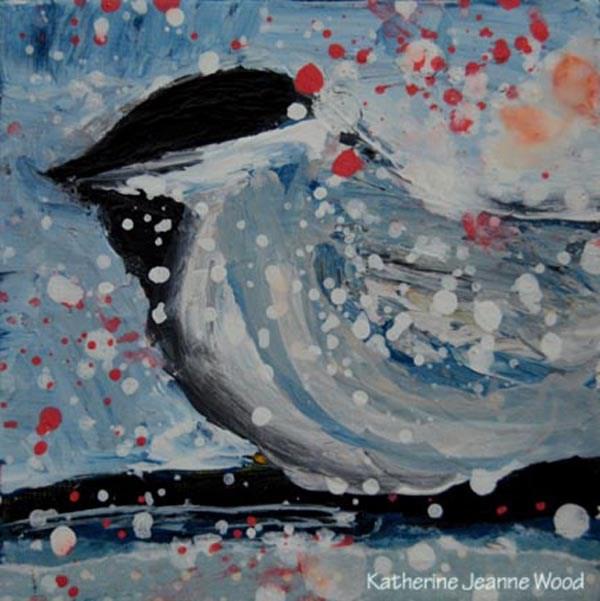 """Cottage chic chickadee bird painting No 16"" original fine art by Katie Jeanne Wood"