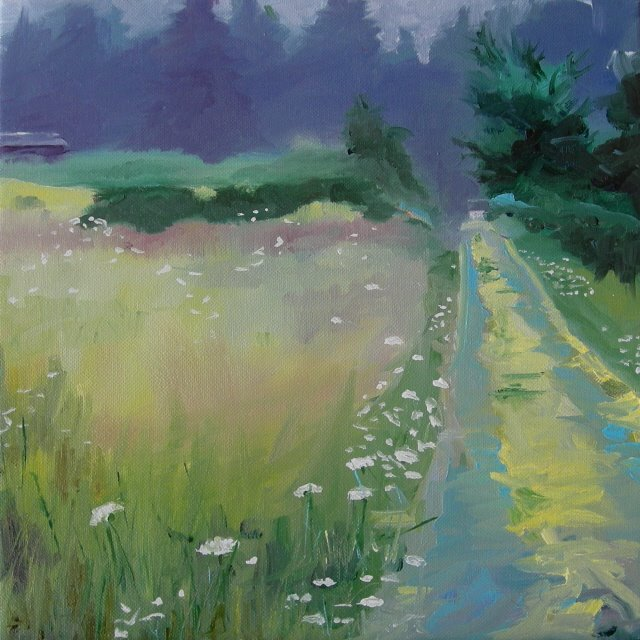 """Misty Morning at Moms  oil painting"" original fine art by Robin Weiss"