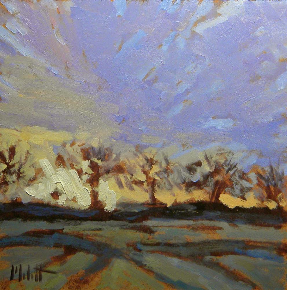 """Apple Orchard Sunrise spring"" original fine art by Heidi Malott"