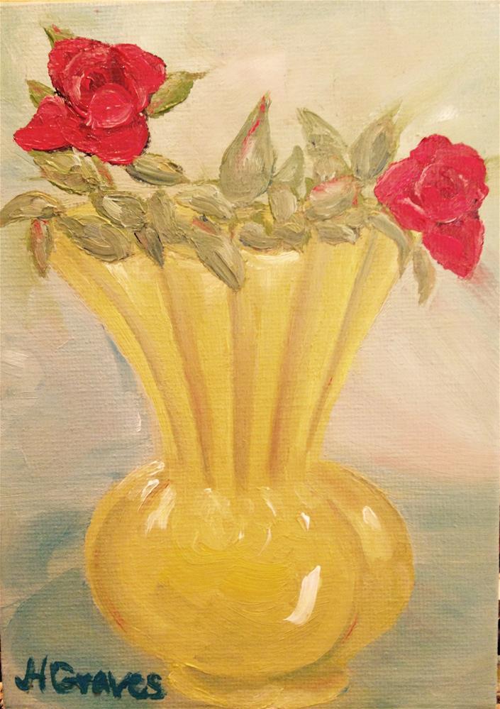 """""""Tea Roses in Chartruese Vase II"""" original fine art by J H Graves"""