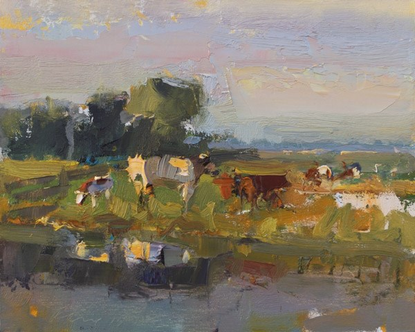 """Painting Cows in Morning light"" original fine art by Roos Schuring"