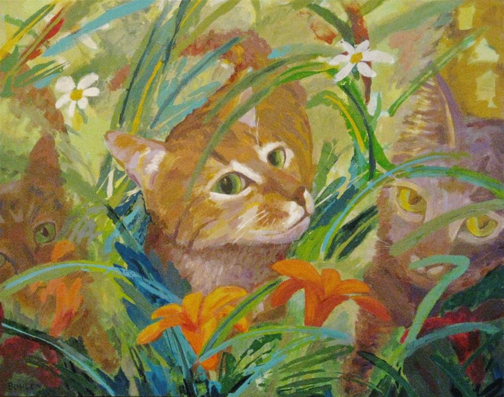 """My Three Cats"" original fine art by Priscilla Bohlen"