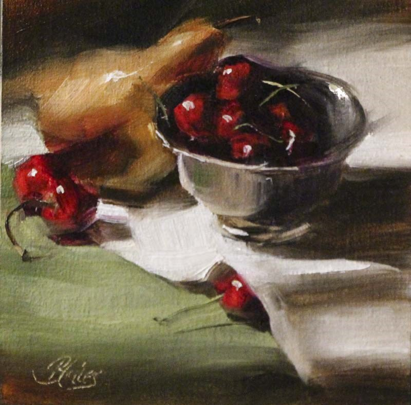 """Cherries in Silver with a Golden Pear"" original fine art by Pamela Blaies"