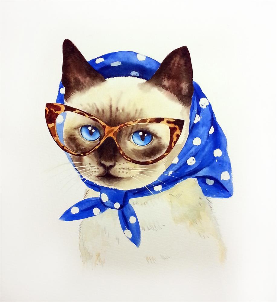 """Lady Cat in Headscarf - Retro Cat - Fashion 50s"" original fine art by Olga Beliaeva"