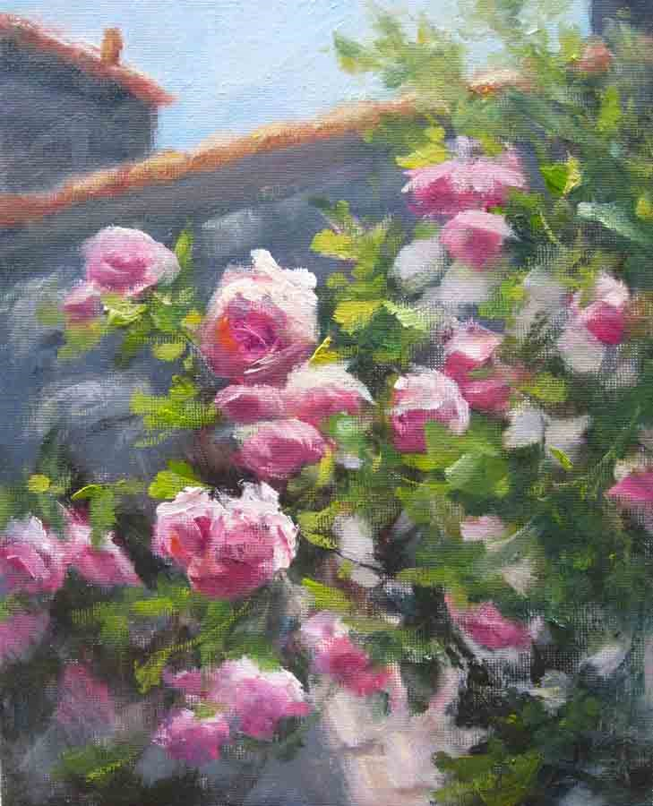 """Climbing Roses- Left"" original fine art by Pat Fiorello"