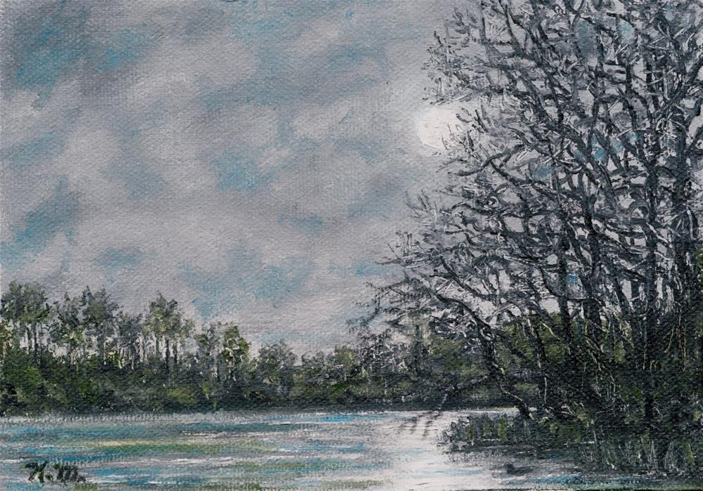 """""""River Moonrise (C) 2014 by K. McDermott"""" original fine art by Kathleen McDermott"""