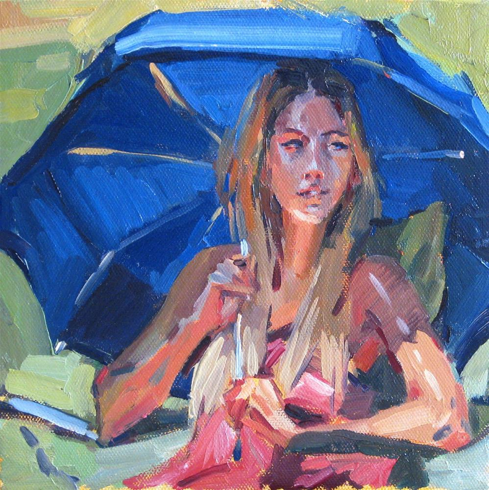 """The Blue Umbrella"" original fine art by Sarah Sedwick"