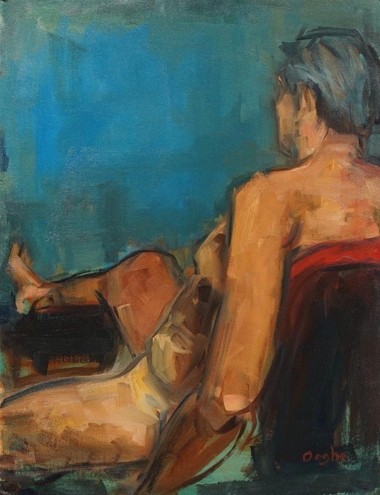 """Man on Red Chair"" original fine art by Angela Ooghe"