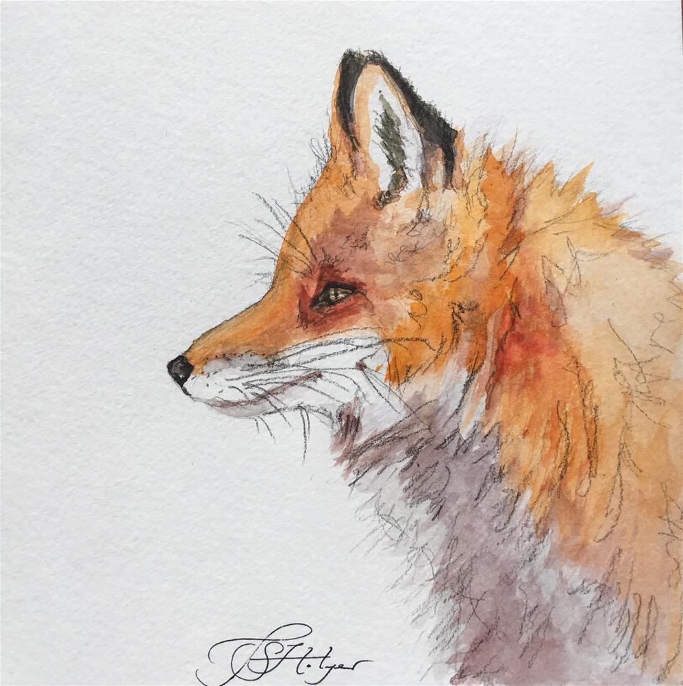 """Fox Profile I"" original fine art by Jen Holyer"
