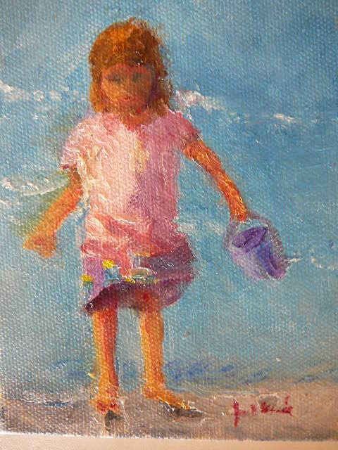 """Seashore Little Girl with Pail"" original fine art by Jane Morac'E"