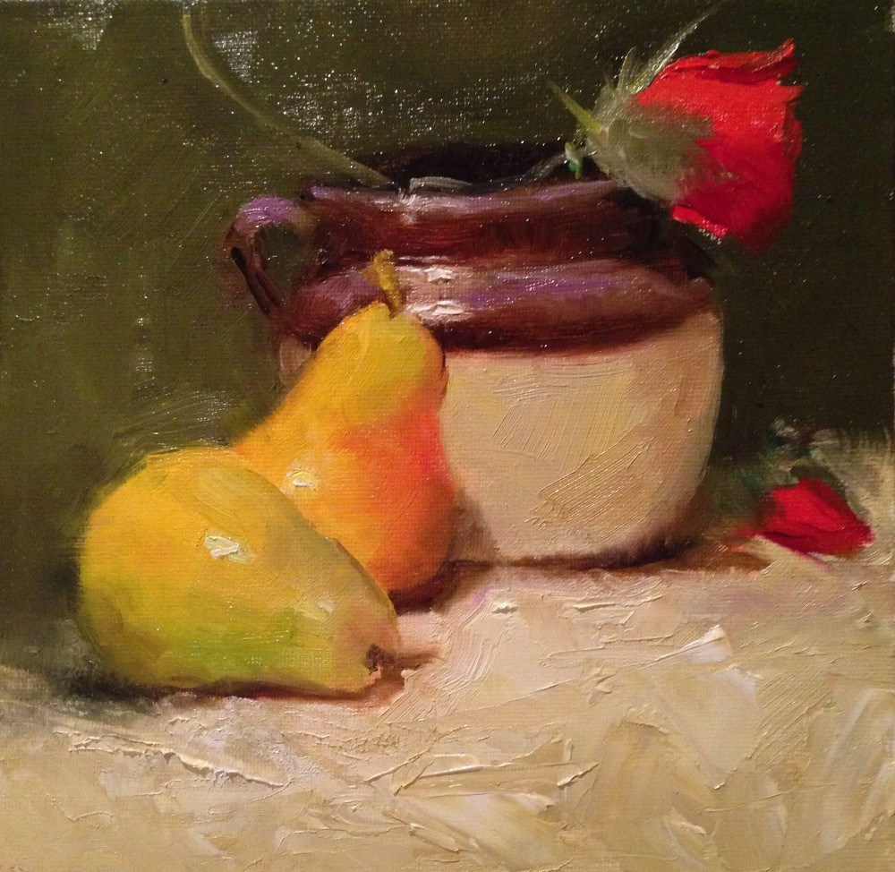 """Bean Pot and Pears"" original fine art by Dorothy Woolbright"