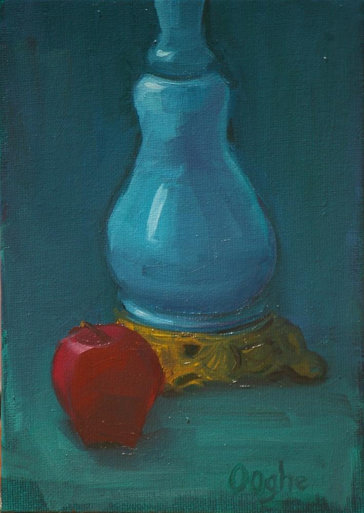 """Blue Lamp Red Apple"" original fine art by Angela Ooghe"