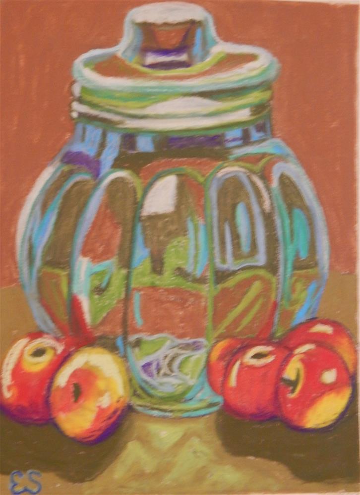 """Jar with Apples"" original fine art by Elaine Shortall"