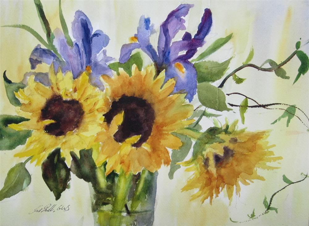"""Painting Flowers in Watercolor: Sunflowers and Irises"" original fine art by Pat Fiorello"