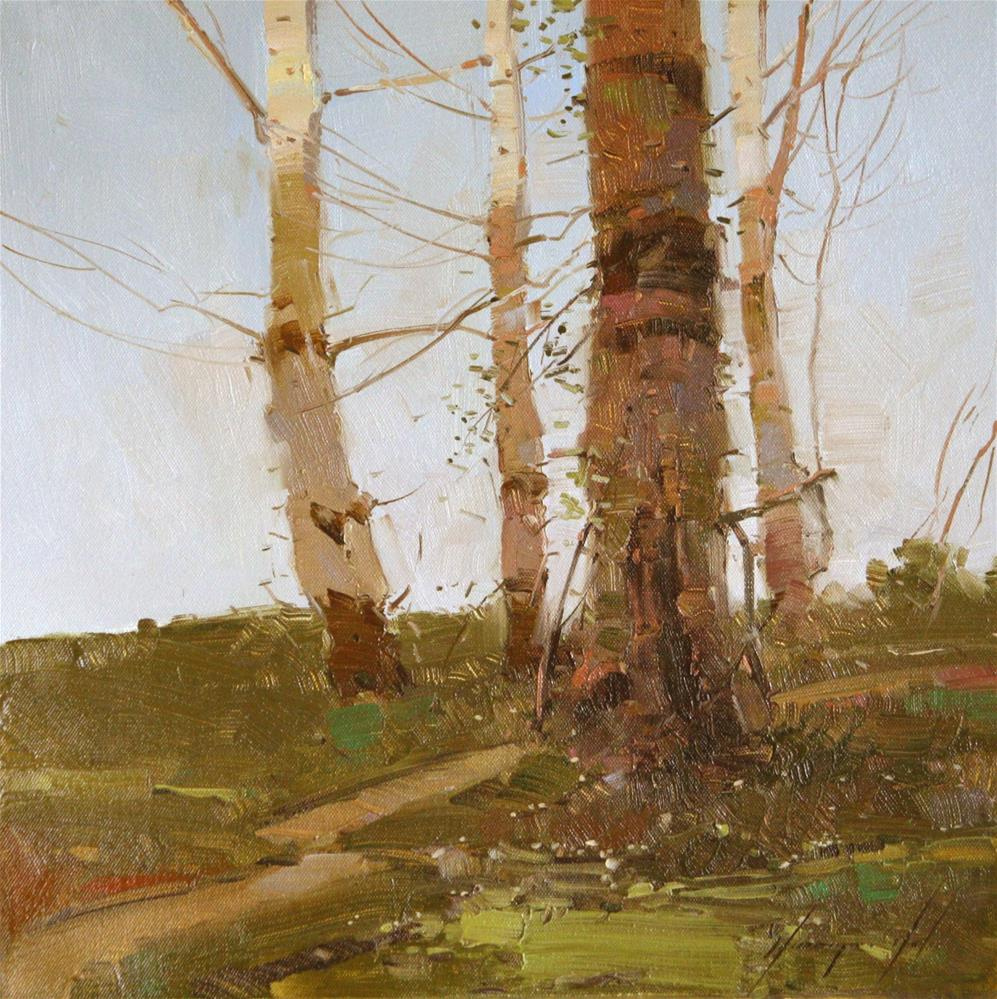 """BIRCHES TREES TONALISM ORIGINAL OIL PAINTING ONE OF A KIND"" original fine art by V Y"