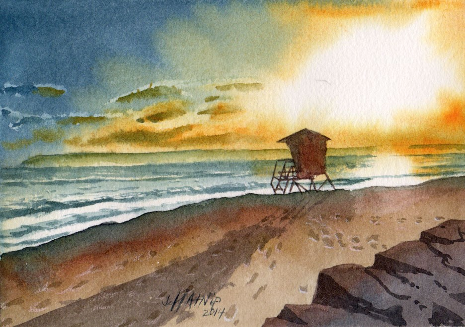 """San Diego sunset"" original fine art by Jeff Atnip"