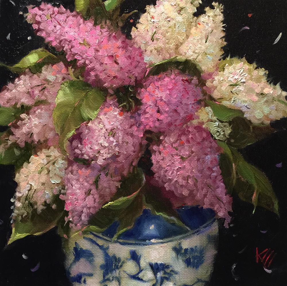 """Spring Lilacs 10x 10"" original fine art by Krista Eaton"