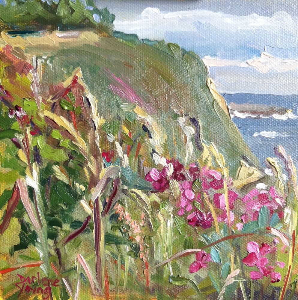 """Dallas Road Sweet Peas, oil on board, 6x6"" original fine art by Darlene Young"
