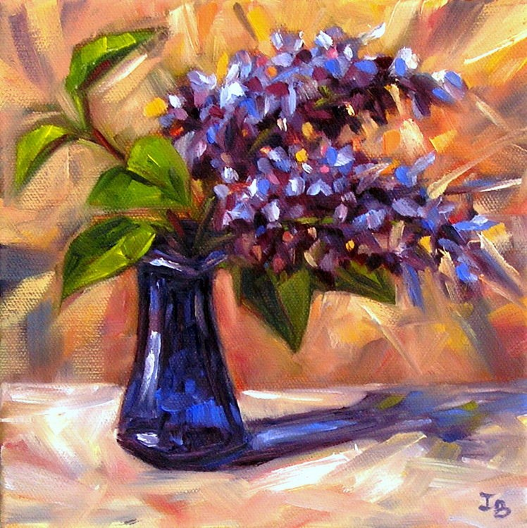 """Lilac in a Blue Vase"" original fine art by Irina Beskina"