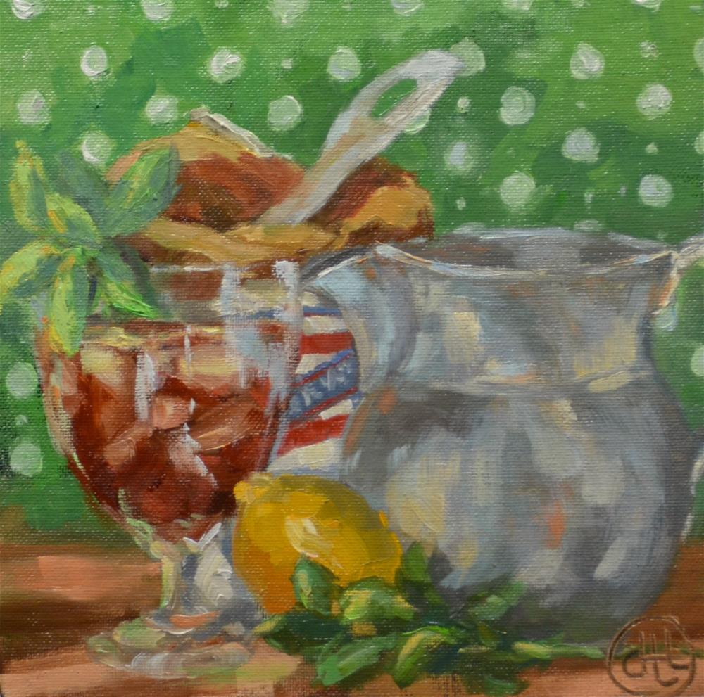 """sipping the sweet stuff"" original fine art by Dottie  T  Leatherwood"