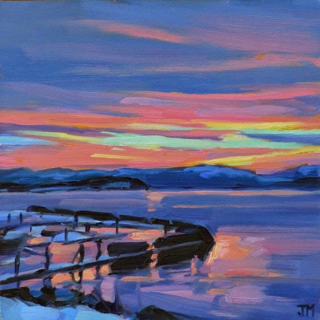 """Hudson Sunset"" original fine art by Jessica Miller"