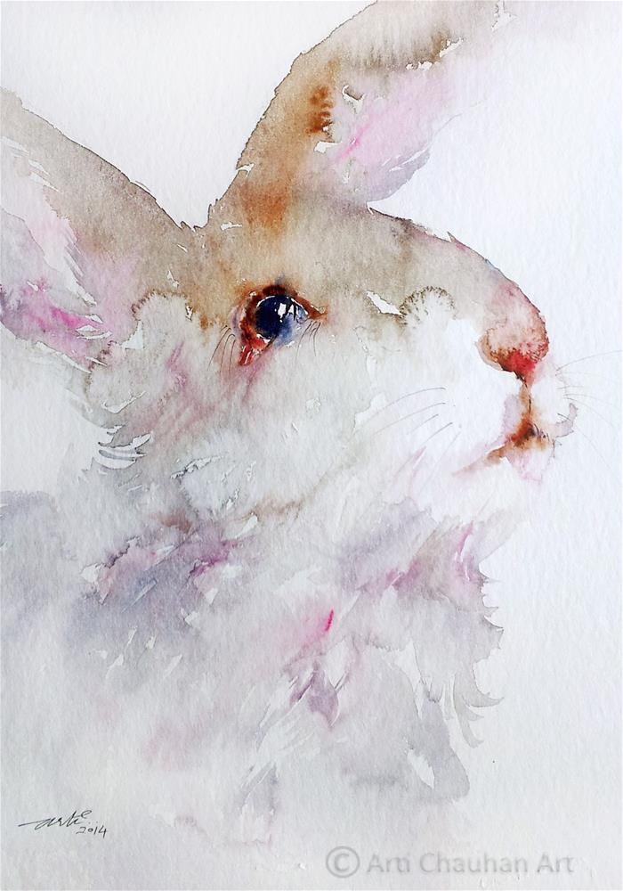 """Woolly the Rabbit"" original fine art by Arti Chauhan"