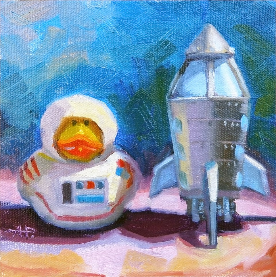 """Duck out of Water"" original fine art by Anette Power"