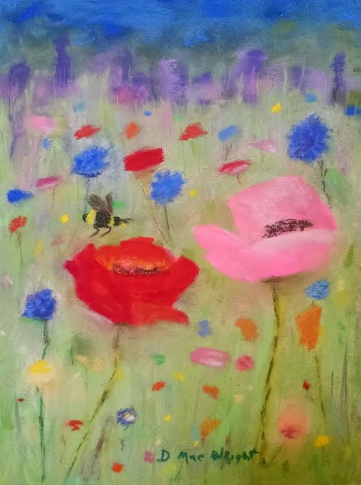 """Red and Pink Poppies"" original fine art by D Mae Wright"