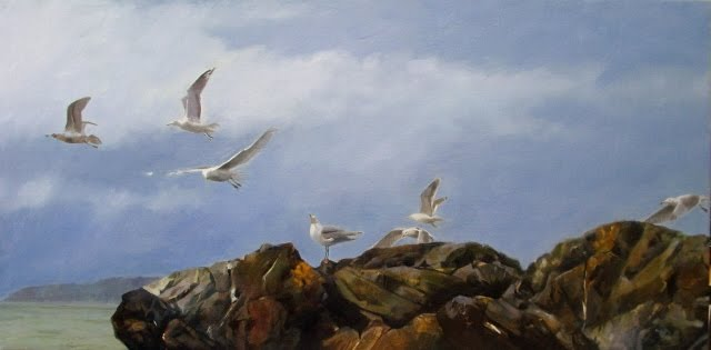 """Deception Pass update, marine oil painting, seagulls"" original fine art by Robin Weiss"