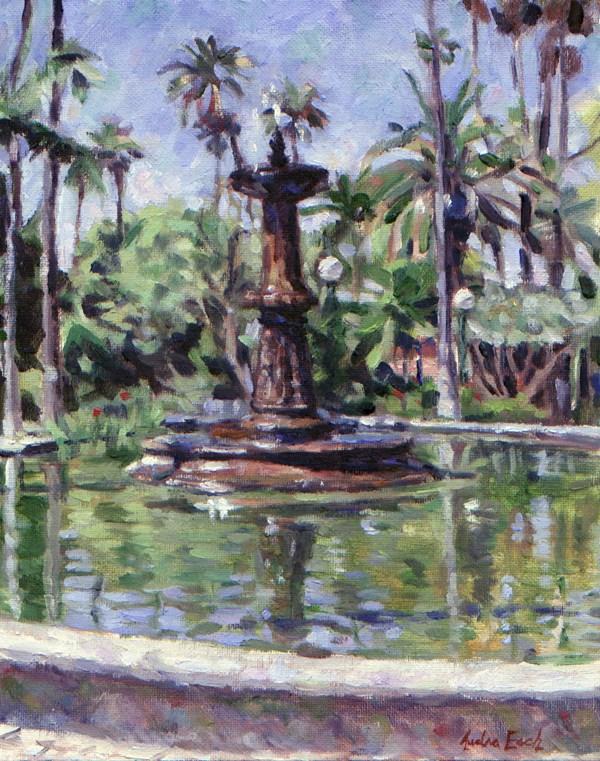 """""""Will Rogers Memorial Park Fountain"""" original fine art by Audra Esch"""