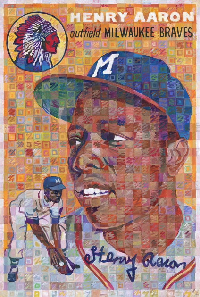 """Hank Aaron Rookie Card"" original fine art by Randal Huiskens"
