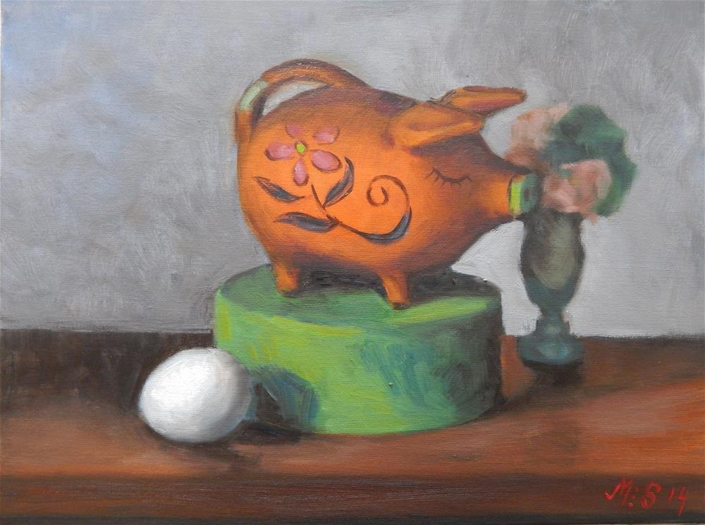 """Still Life with Orange Piggy Bank"" original fine art by Megan Schembre"