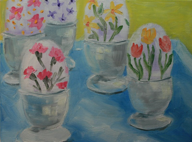 """Easter Eggs"" original fine art by Jean Nelson"