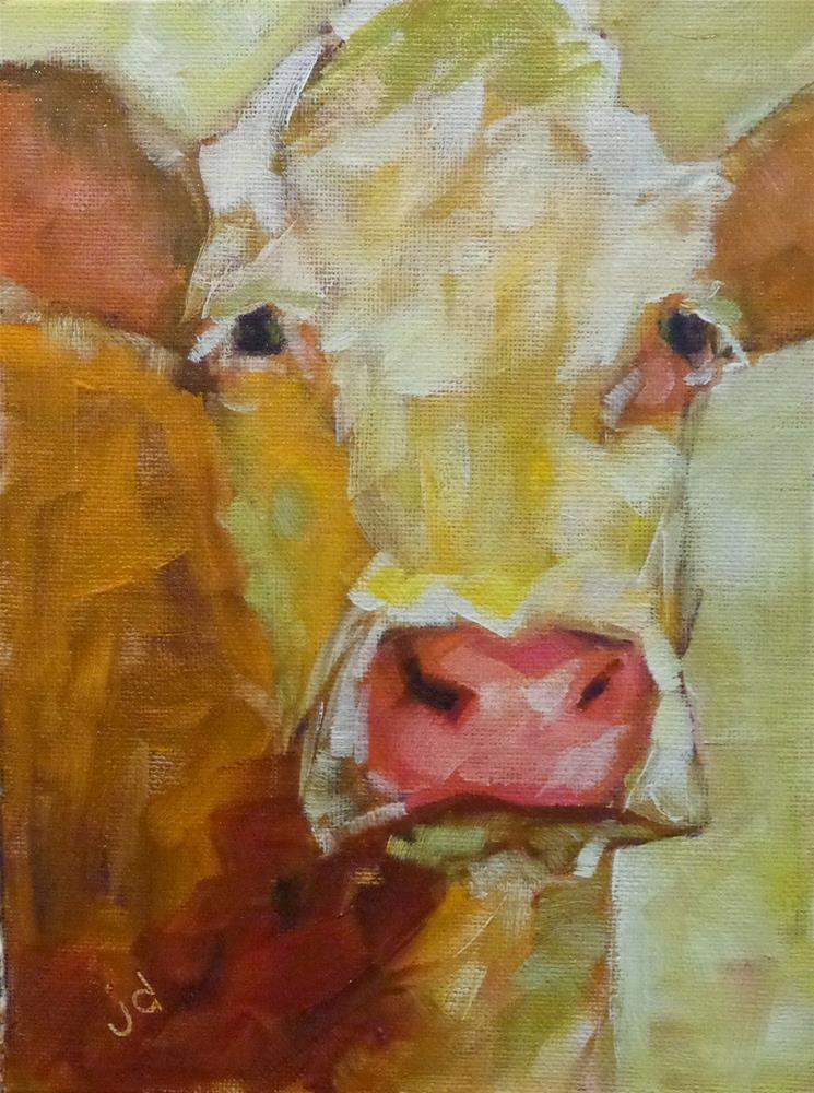 """Cow 13"" original fine art by Jean Delaney"