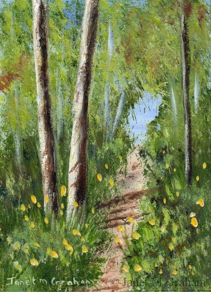 """Woodland Path ACEO"" original fine art by Janet Graham"
