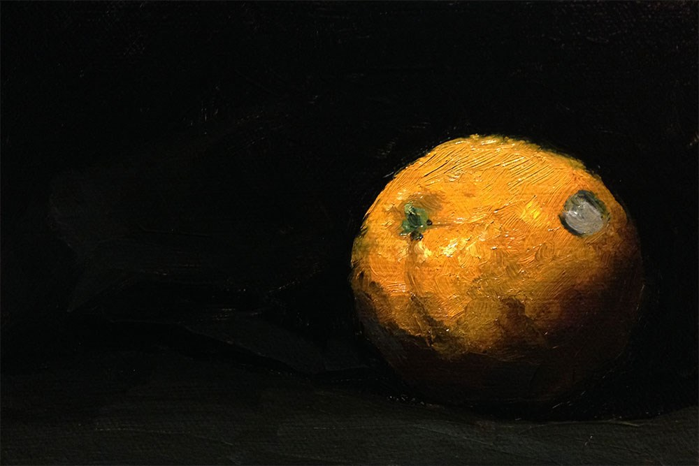 """Orange With Sticker"" original fine art by Chris Beaven"