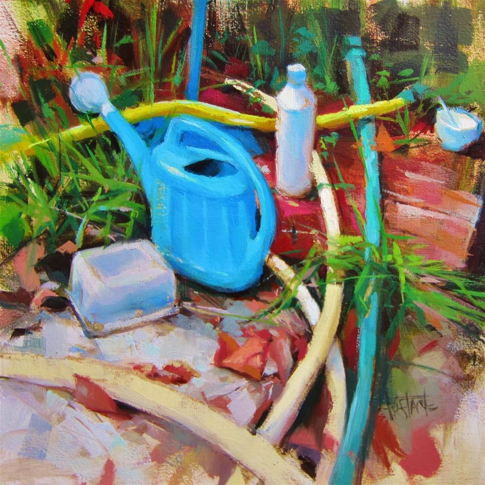 """Regadera azul"" original fine art by Víctor Tristante"