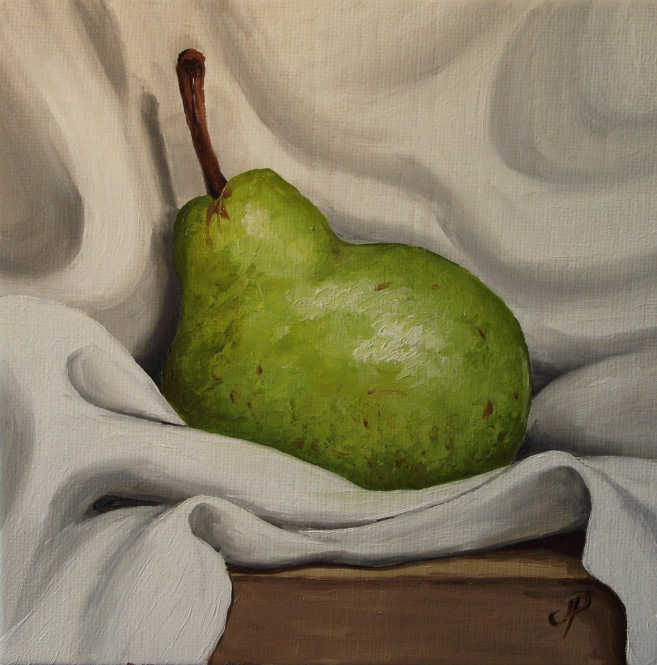 """""""Pear on cloth"""" original fine art by Jane Palmer"""