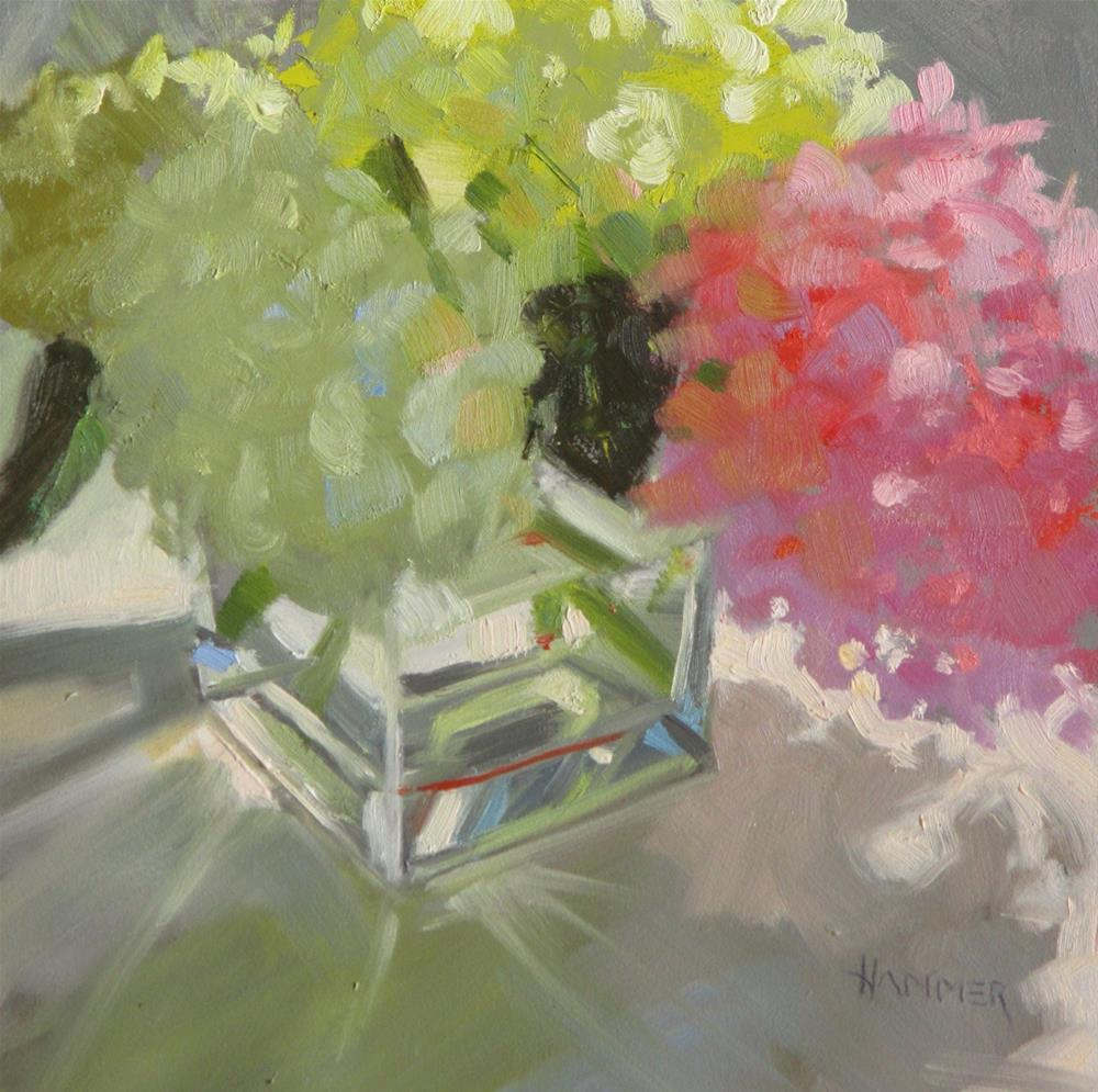"""""""Green with a little Pink   6 x 6  oil"""" original fine art by Claudia Hammer"""
