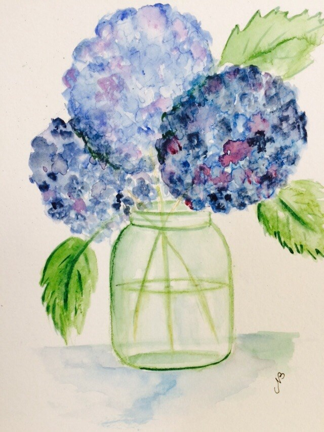 """Hydrangea # 4 NFS"" original fine art by Nancy Beard"