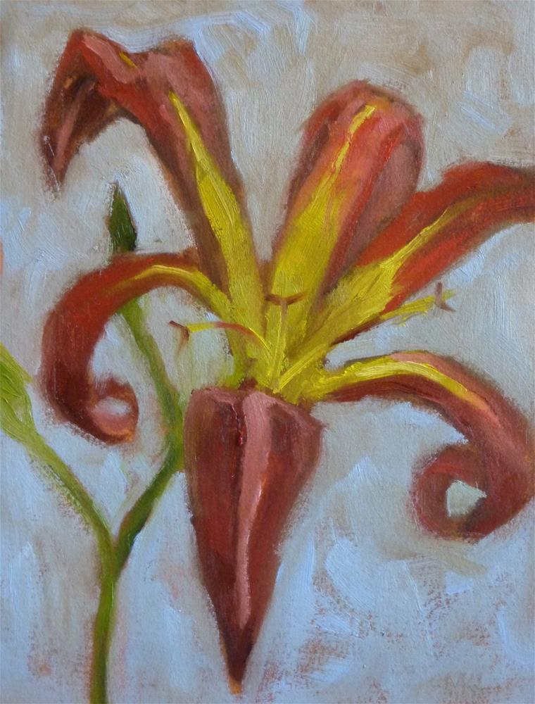 """Tiger Lily on Blue"" original fine art by Marlene Lee"