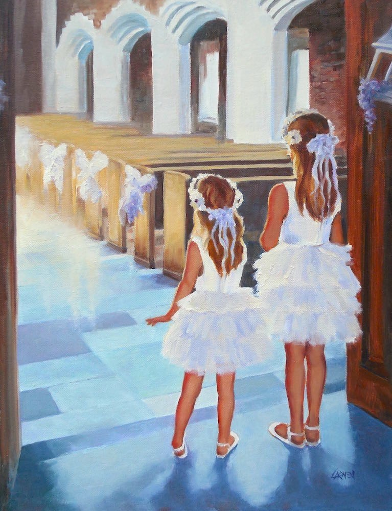 """Flower Girls, 11x14 Original Oil on Canvas"" original fine art by Carmen Beecher"