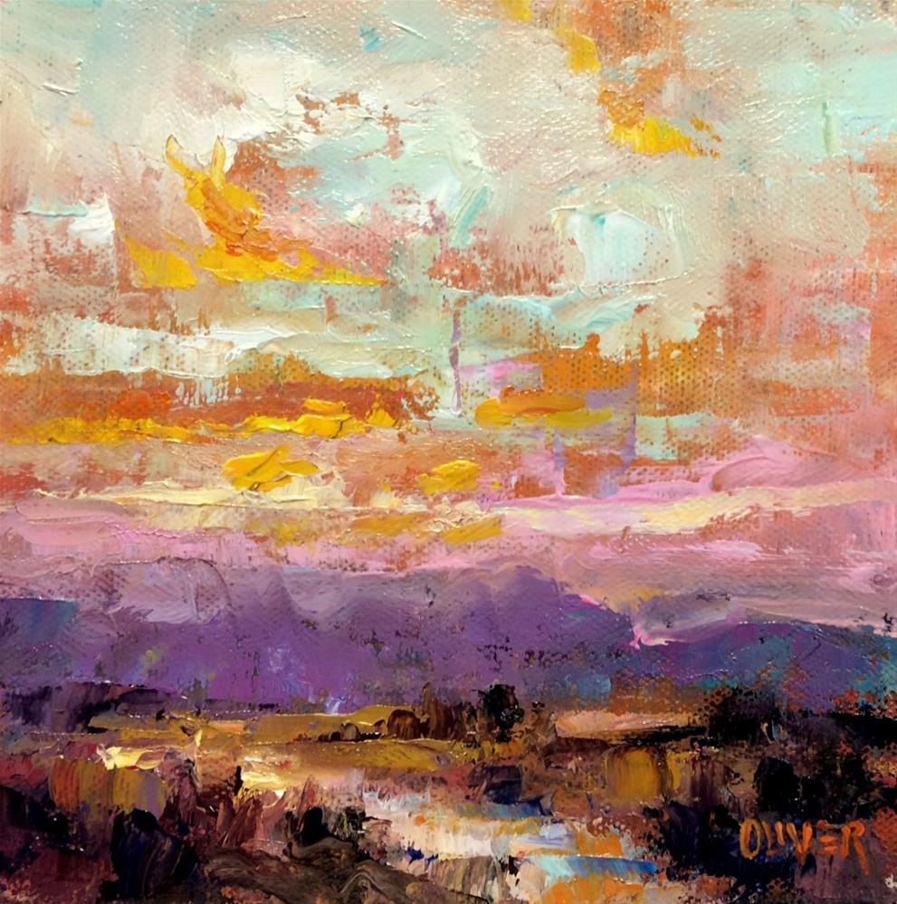 """Sunrise in New exico"" original fine art by Julie Ford Oliver"