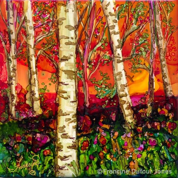 """Orange Birch"" original fine art by Francine Dufour~Jones"